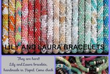 Lily and Laura / Handmade bracelets from Nepal ! No two bracelets are alike. These bracelets are crocheted with cotton and the finest glass beads.