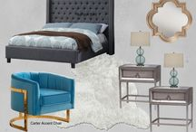 Contemporary Bedroom Style - Meridian Furniture / Meridian Furniture-  Chic Contemporary style living with the Ashton Grey Upholstered bed and aqua velvet gold finished Carter accent chair!