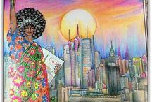 Book's coloring inspiration / Inspirações de livros variados.