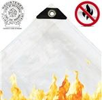 Fire Retardant Tarps / All of our fire retardant poly tarps come with a California State Fire Marshal tag permanently attached to the side of the tarp. Never accept fire retardant poly tarps without this label. Canvas tarps do not have the label attached but can have a certification document provided.
