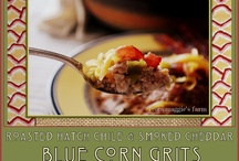Roasted Hatch Chile & Smoked Cheddar Blue Corn Grits with Bacon.