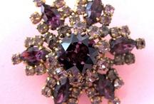 Vintage costume jewellery - purple
