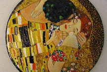 """Il Bacio di Klimt / """"Il Bacio di klimt"""" dipinto su tela, ardesia, legno e stoffa"""