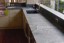 Kitchen cabinet top soapstone