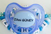 İsimli emzikler/ baby dummy / Tasarım ürünler bebek ürünleri emzikler emzik zincirleri / baby dummy /boy / girl / baby