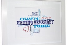 For Christenings / Fabulous, personalised typographic art, designed specifically for Christenings or Naming Ceremonies. They make beautiful, unique gifts which serve as a lasting reminder of the special day. Produced on museum quality, 350gsm canvas weave or on permanent grade, fine art card. Bespoke framing is also available for fine art prints. Prices from just £25. See www.thebeaskneesandthecatswhiskers.co.uk for lots more ideas and inspiration! / by The Bea's Knees & The Cat's Whiskers