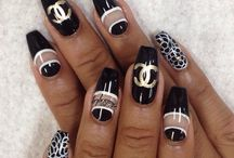 Black, white,silver and gold Nails