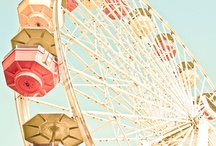 Nursery Themes // Vintage Boardwalk Carnival / A sweet baby girl nursery inspired by vintage boardwalk carousels and ferris wheels! Pink, Aqua, Peach, Gold, Coral, Cotton Candy, Carousel Pony, Clouds, Balloons, Ferris Wheel