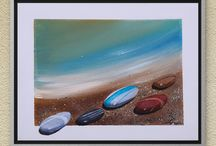 art | paintings | pebbles / some painted with watercolors on aquarelle, some with acrylic on canvas