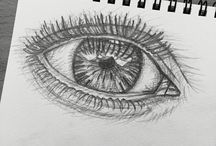 woman's eye looking in the clouds / pencil drawing 2B, HB