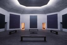 """Rothko Chapel / """"The Rothko Chapel is a non-denominational chapel in Houston, Texas founded by John and Dominique de Menil. The interior serves not only as a chapel, but also as a major work of modern art. On its walls are fourteen black but color hued paintings by Mark Rothko. The shape of the building, an octagon inscribed in a Greek cross, and the design of the chapel was largely influenced by the artist."""" ~ Wikipedia"""