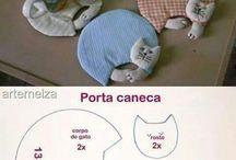 Posa taza gato patchwork