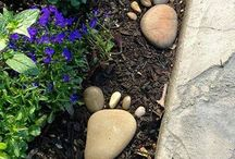 Footprint stones in garden