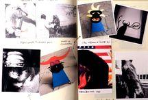La vie de l'atelier / Voici quelques travaux dessin, collage, texte.  Travaux pour préparation d'un dossier aux concours d'art.