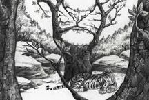Zeichnungen und Malerei Tiere