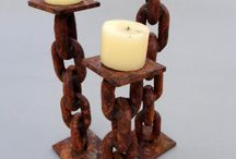 Rusted Chain Candle Holders