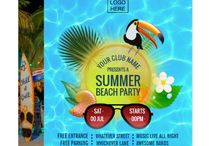 A  Corporate Club Summer Party Collection / A Corporate/Club collection of summer beach and music festival invitations, flyers and posters customizable to your specifics.