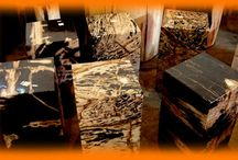 Petrified Wood End Table / The world's most amazingly beautiful petrified wood end tables for home furniture decoration.