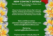 New Contact Details / New contact details of Badian Island Resort and Spa.