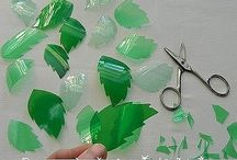 Plastic leaves / Recycling coloured plastic bottles