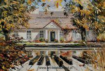houses in oil painting / dwory i strzechy w moim malarstwie