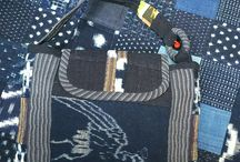 Bags My mother's hand crafts with Japanese old and antique fabrics. / Bags with cotton  Sarasa, Katazome, Kasuri, Shima Sakabukuro and plain Indigo.