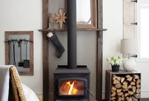 Wood stove mantle