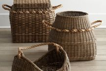 rattan baskets / put them anywhere, yet they still look chic