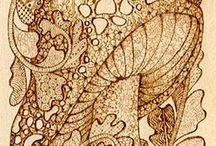 Pyrography / Oggetti in legno pirografati