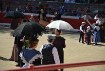 """Course Camarguaise """"1ère Journée du Muguet d'Or"""" / La course camarguaise est un sport dans lequel les participants tentent d'attraper des attributs primés fixés au frontal et aux cornes d'un bœuf appelé cocardier ou biòu (bœuf en provençal), mais auquel on confère parfois la dignité de taureau en l'appelant : taureau cocardier"""