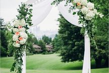 Wedding theme: Abundant Garden / Full arrangements overflowing with lush, fragrant blooms. Hydrangeas, roses, garden roses, Stock and peonies.  Trailing foliage.  Periwinkle, lavender, blush, peach, cream, ivory, soft green, light blue.