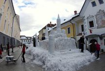 Winter in Radovljica / The snow castle in Radovljica's old town centre, built by locals and the Centre for Architecture, Slovenia.