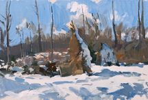 Landscape Contemporary (snow) / Contemporary landscape paintings wintertime