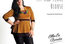 2015 - Fit & Flare Blouse / Color blocking blouse which specially designed for sophisticated curvy women originally made by Indonesian Designer & Local Brand: Ella Es Bonita.