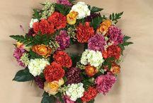 Begravelse / Bårdekorasjon med hortensia blå/lilla