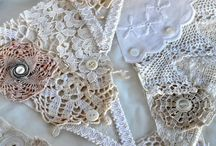 Vintage lace and linen flags