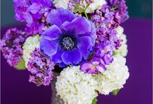 Purple bouquet and wedding decor