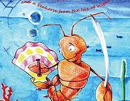 Lonnie the Lobster Knight and a Seahorse from the isle of wight