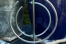 Concentric Circles / A View with a Difference - 18 carat gold & silver plated Hoop Earrings