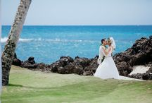 """Hoda + Tarek / Hoda & Tarek said their """"I Do's"""" in a private and intimate wedding at the White Orchid Beach House on the beautiful island of Maui! It was a gorgeous morning wedding with the Pacific ocean and palm trees as their backdrop. Bernie Freitas and Steven Cook of WOW planned their magical day and Chris J Evans captured every moment.   Florals by Janna Livesay Hoehn   Cake by Maui Wedding Cakes, Inc.   Beauty by MeiLi Autumn"""