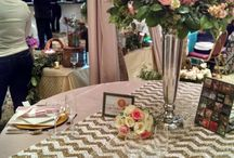 Bridal Showcase Glamour / Glamorous tabletop décor showing Gala Cloths' Dupioni Blush with Chevron Sequin runners and matching blush Dupioni napkin tied with satin ribbon! Location: The Mendenhall Inn Bridal Showcase in Chester County, PA.
