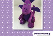 Dragon toy sewing pattern / Dragon softie sewing pattern Toy plushie pattern