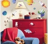 Space themed bedroom / Fun accessories to create a space themed bedroom for children included wall stickers, mirrors, rugs and bedding