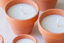 Centros de mesa / inspirações para centros de mesa co flores, velas, toalhas e cobre manchas