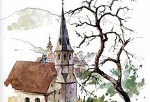 eglise aquarelle