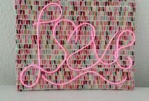PINK NEON LOVE sign on geometric pattern frame / PINK NEON LOVE sign on geometric pattern frame   etsy.com/shop/revamplondon