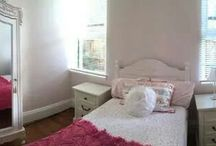 pretty girls rooms / Dulux Blossom Time. Gorgeous soft pastel pink behind white furniture