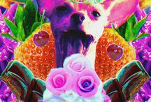 Psychedelic Dogs / My work for Psychedelic Colours shop on Etsy showing psychedelic dogs from otherworldly animal kingdom.