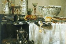 Symboles évoquant la religion / Le pain, le vin, le raisin qui représentent l'Eucharistie.