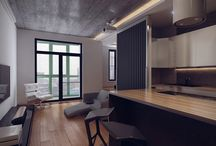 48m² studio apartment / Loft style / AutoCAD / 3ds MAX